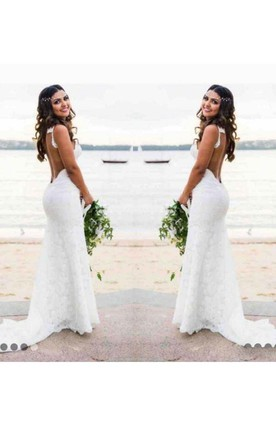 Bohemian Beach Y Spaghetti Straps Backless Lace Wedding Dress