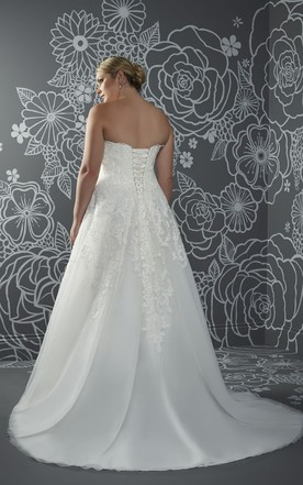 6372b2389 ... A-Line Long Sweetheart Sleeveless Satin Court Train Corset Back Waist  Jewellery Dress