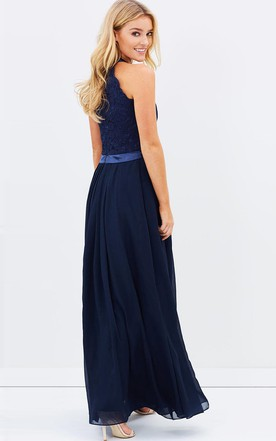 b50898350c0 ... A-Line Appliqued Sleeveless Ankle-Length Scoop Chiffon Bridesmaid Dress  With Zipper Back And