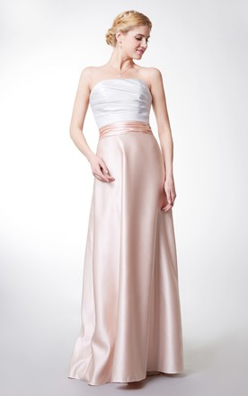 Backless Sleeveless A-line Satin Gown With Ruching