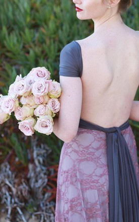 Two Toned Satin And Lace Octopus Infinity Wrap Mauve Lace With Glacier Dark Grey ~ Wedding Gown Maternity Etc Dress
