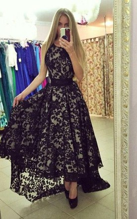 Modern Jewel Sleeveless Lace Prom Dress Sweep Train