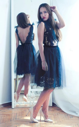 Navy Blue Lace Evening Open Back Dress