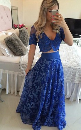 7e89dfbe861 Sexy Two Piece Royal Blue Prom Dress 2018 Appliques Short Sleeve ...