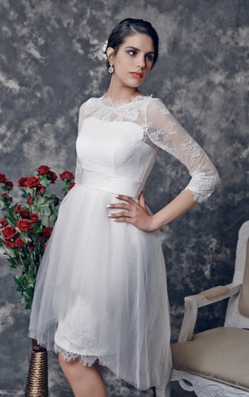 Gossamery Knee-length Dress With 1 2 Lace Sleeves