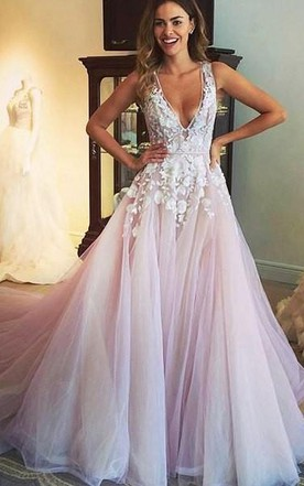 Blush bridal dresses pale pink wedding gowns june bridals sexy sleeveless v neck tulle dress with appliques junglespirit Choice Image
