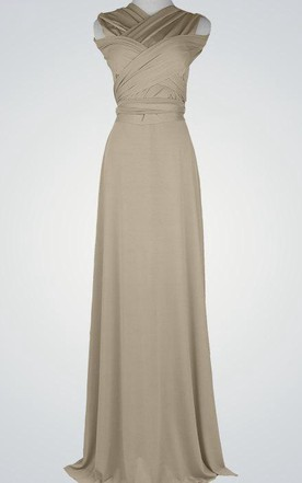 Simple A Line Long Bridesmaid Floor Length Prom Party Dress