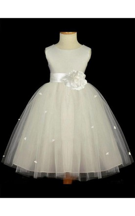 32679a1288c A-line Princess Scoop Sleeveless Hand-made Flower Floor-length Tulle Flower  Girl ...