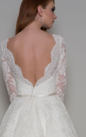 71a6b5bb63b ... A-Line Knee-Length Half-Sleeve Appliqued Bateau-Neck Lace Wedding Dress