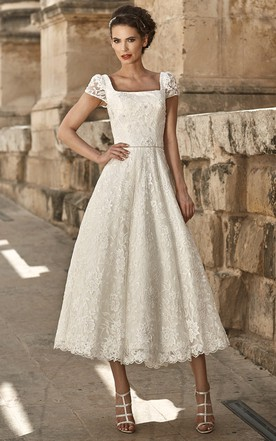 A Line Appliqued Short Sleeve Square Neck Tea Length Lace Wedding Dress ...