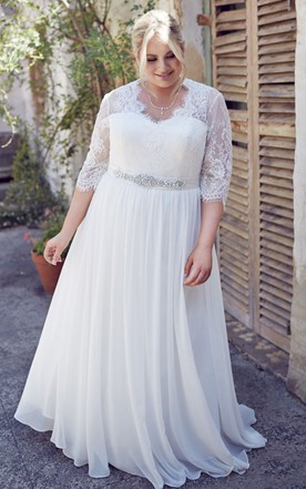 b1399fe185c7 Jeweled Half-Sleeve V-Neck Chiffon Plus Size Wedding Dress With Pleats ...