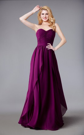 f8f7d71a74a Sweetheart Chiffon Long Bridesmaid Dress With Layered Skirt ...