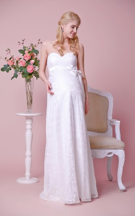 Strapless Empire Waist Lace Long Maternity Wedding Dress With Satin Bow