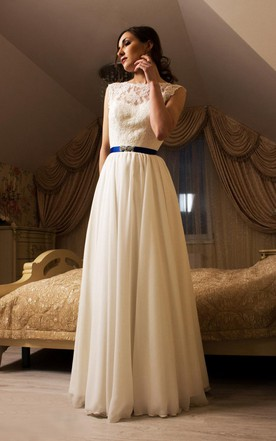 Jewel Neck Sleeveless Backless Wedding Dress With Chiffon Skirt