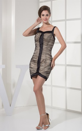 Sleeveless Ruched Mini Dress with Straps and Zipper Back