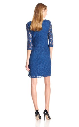 Elegant High-neck Lace Short Dress With Illusion Sleeves