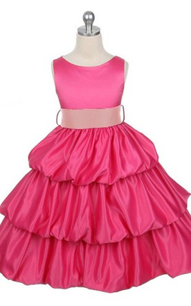 Sleeveless Bateau-neck Tiered Ruffled Dress