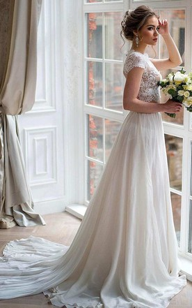 5a7462bf661 ... Bateau Short Sleeve Two-Piece Chiffon Wedding Dress With Lace Top