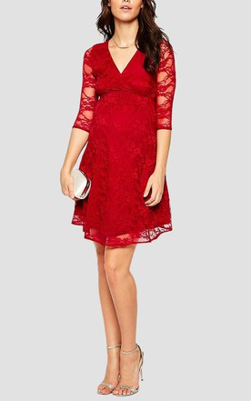 Illusion 3 4 Sleeve V-neck Empire Waist Short Lace Maternity Dress With Sash