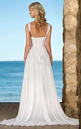 Hot Selling Sheath Column V-Neck Chiffon Wedding Dress