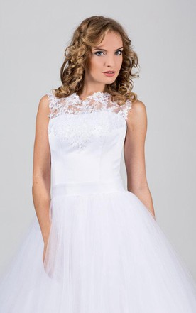 High Neck Sleeveless Tulle Ball Gown With Lace Appliques