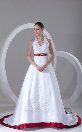 Wedding dress with color colored bridal gowns june bridals sleeveless a line embroidered plunged dress with beading and halter junglespirit Gallery