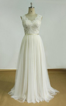 Good Backless Tulle Lace Satin Weddig Dress ...
