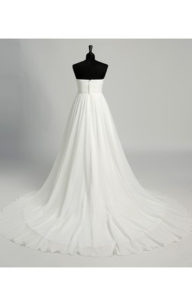 c7563d19525e1 ... Floor-length Court Train A-line Sweetheart Sleeveless Chiffon Maternity  Weeding Dress