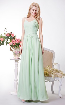 V-neck Chiffon A-line Gown Has Crisscross Ruched Bodice