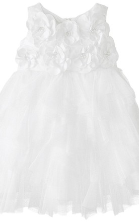 Sleeveless A-line Tulle Dress With Flowers and Bow