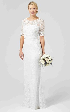 Stylish and mature wedding dresses for second marriage june bridals sheath half sleeve scoop neck lace wedding dress with keyhole junglespirit Image collections