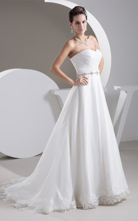 Sweetheart Criss-Cross A-Line Gown with Appliques and Gemmed Waist