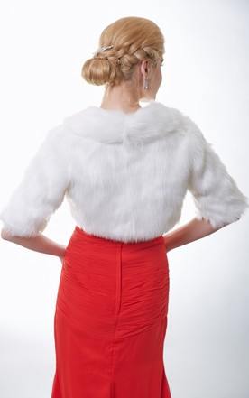 Half Sleeve Faux Fur Bridal Cape With Straps