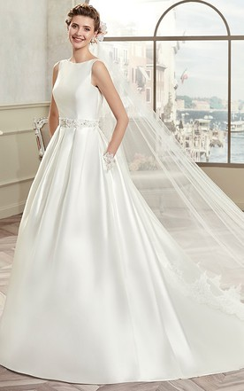 100fe130e6c Jewel-Neck Satin A-Line Gown With Illusive Lace Back And Cap Sleeves ...