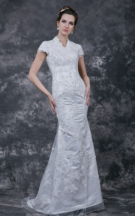 Modesty V-neck Embroidered Satin Wedding Gown with Lace Bodice