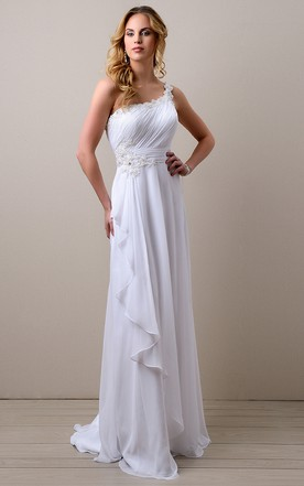 Side Draping A Line Chiffon Wedding Dress With One Shoulder And Ruched Bodice
