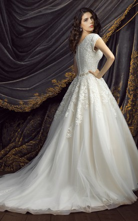 Royal Short Sleeve Ball Gown Wedding Dresses