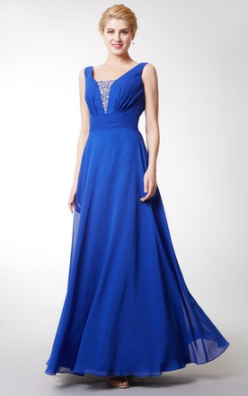 Deep V Back Style Sleeveless Chiffon Gown With Beading