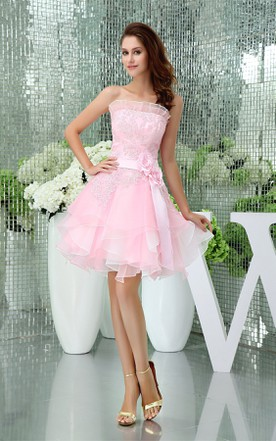 Strapless A-Line Mini Dress with Appliques and Flower