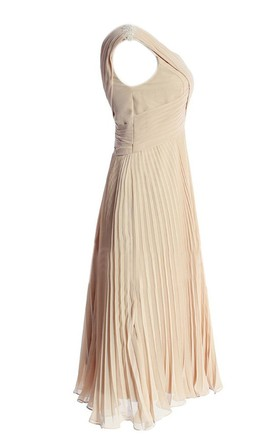 Sleeveless V-neck Asymmetrical Ruched Long Pleated Chiffon Dress