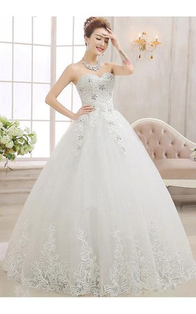 Glamorous Sweetheart Ball Gown Wedding Dreses 2018 Lace Tulle With Crystal  ... f386d815027c