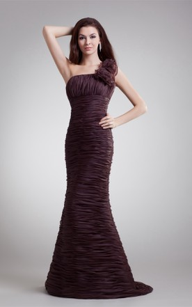 Ruched Floor Length Column Dress With Brush Train And Fl Strap