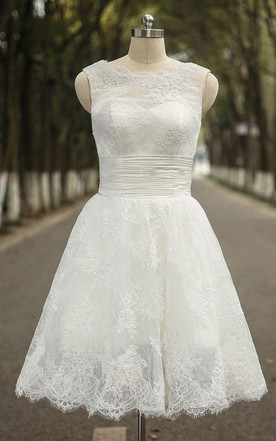 Jewel Neck Sleeveless Short A-line Lace Wedding Dress With Ruched Bodice