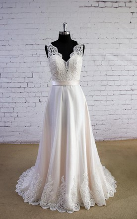 V Neck Sleeveless Long A Line Satin And Tulle Wedding Dress