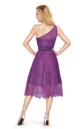 One-shoulder Tea-length Dress With Lace and Bow