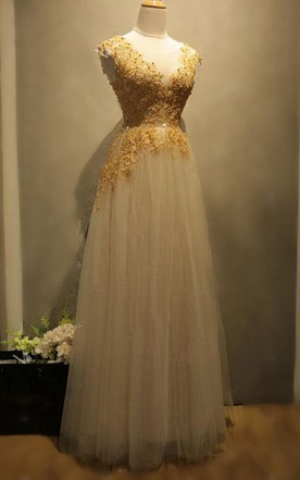 Ball Gown Maxi Tulle&Lace&Satin Dress With Beading&Zipper