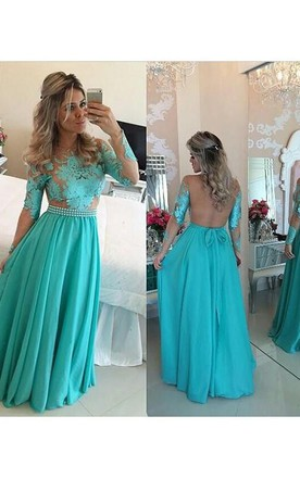 A-Line Princess Long Sleeves Scoop Chiffon Floor-Length Applique Dresses