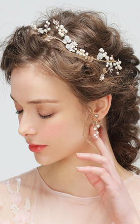 Western Style Delicate Exquisite Hand-flower Vine Pearl Hair With Ear Clip Set
