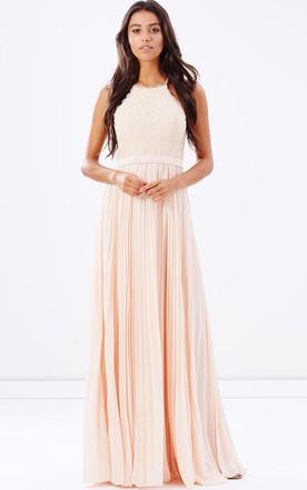 aa354b1500b30 Pleated Sleeveless Spaghetti Chiffon Bridesmaid Dress With Lace And Ribbon  ...