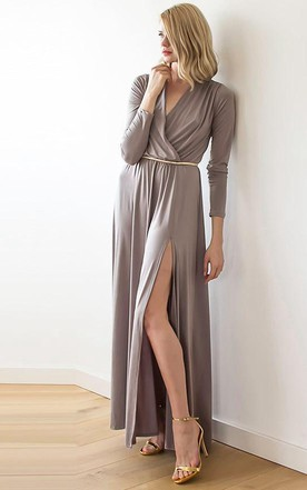 Maxi Wrap Taupe Dress With Slit